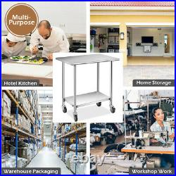 Ironmax 36x24 NSF Stainless Commercial Kitchen Prep Work Table with 4 Casters
