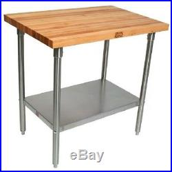 John Boos Work Table with Commercial Blended Maple Top, Stainless steel base and