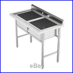 Kitchen/Commercial Sinks 304 Stainless Steel with 4 Tall Backsplash 2 Compartment