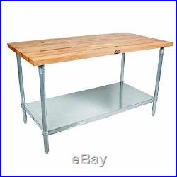Kitchen Food Prep Work Table Galvanized Steel Base Maple Top Commercial Station