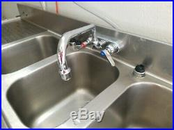 Kitchen Sink Commercial Stainless Steel 3 Compartment faucet