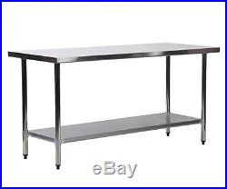 Kitchen Work Table Stainless Steel 24x72 Inch Work Table Heavy Duty Commercial
