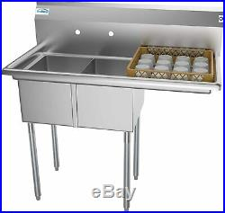 KoolMore 2 Compartment Stainless Steel NSF Commercial Kitchen Prep sink