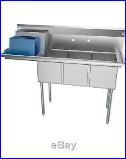 KoolMore 3 Compartment Stainless Steel NSF Commercial Kitchen Sink with Large