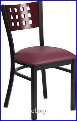 LOT OF 50 DECORATIVE BACK RESTAURANT CHAIRS with MAHOGANY WOOD BACK-BURGUNDY SEATS