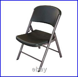 Lifetime Commercial Grade Contoured Folding Chair, 4 Pack, Black on Grey