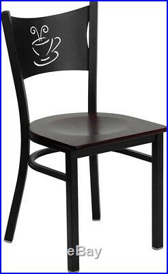 Lot of 20 Metal Restaurant Coffee Shop Chairs with Mahogany Seat