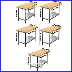 Maple Top Work Table Commercial Prep Table with Stainless Steel Base 35 Tall