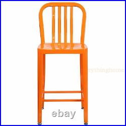 Mid-Century Orange'Navy Style Counter Stool Cafe Patio Chair Outdoor Commercial