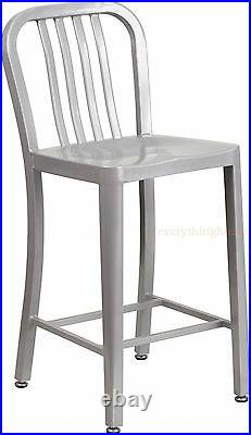 Mid-Century Silver'Navy' Style Counter Stool Cafe Patio Chair In/Out Commercial