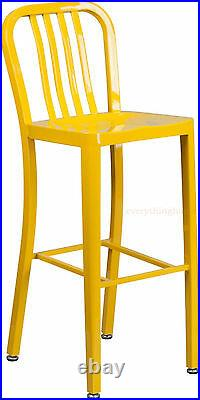 Mid-Century Yellow'Navy' Style Bar Stool Cafe Patio Chair In-Outdoor Commercial