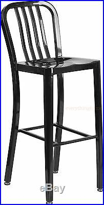 Mid-century Black'navy' Style Bar Stool Cafe Chair In-outdoor Commercial 30 Ht