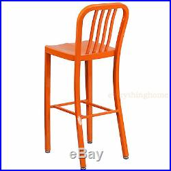 Mid-century Orange'navy' Style Bar Stool Patio Chair In-outdoor Commercial 30