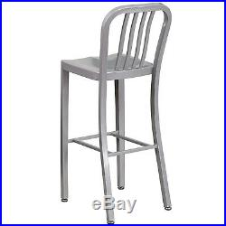 Mid-century Silver'navy' Style Bar Stool High Top Chair In-outdoor Commercial