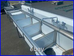 NEW 108 Stainless Steel Sink 3 Compartment Commercial Kitchen with Faucets NSF