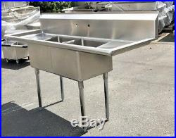 NEW 72 Stainless Steel Sink Two Compartment Commercial Kitchen Restaurant NSF