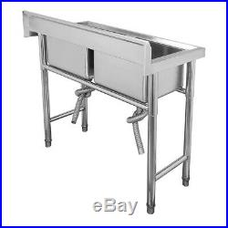 NEW Commercial Kitchen Stainless Steel Sink Double Bowl Catering Sink