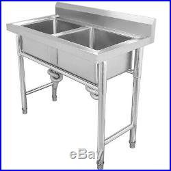 NEW Stainless Steel Mount Standing Kitchen Sink Double Bowl Commercial Catering