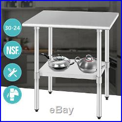 NSF 24x30 Commercial Prep Work Table Home Kitchen Restaurant Stainless Steel