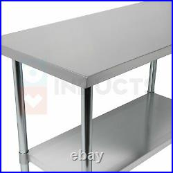 NSF Stainless Steel 24 x 72'' Commercial Kitchen Food Work Table with Undershelf