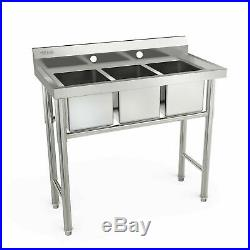 New 39 Wide 3 Compartment Stainless Steel Commercial Bar Kitchen Laundry Sink