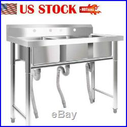 New 39 Wide Stainless Steel Bar 3Compartment Sink Kitchen Silver Commercial USA