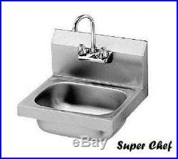 New Commercial Kitchen Stainless Steel Wall-Mount Hand Sink with Faucet 15 x 17