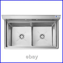 OPEN BOX 2 Compartment Stainless Steel Commercial Kitchen Prep & Utility Sink
