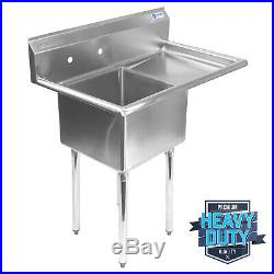 OPEN BOX Commercial Stainless Steel Kitchen Utility Sink w Drainboard