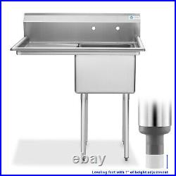 OPEN BOX Stainless Steel 18 Single Bowl Commercial Kitchen Sink with Drainboard