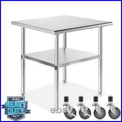 OPEN BOX Stainless Steel 24 x 30 NSF Commercial Kitchen Prep Table w Casters