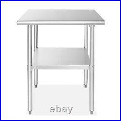 OPEN BOX Stainless Steel Commercial Kitchen Prep & Work Table 24 in. X 24 in