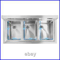 OPEN BOX Three 3 Compartment Stainless Steel Commercial Kitchen Sink