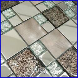 Onyx Bronze & Stainless Steel Square Mosaic Tiles Sheet For Walls And Floors