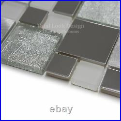 Onyx White Stainless Steel With Glass Mosaic Tiles Sheet For Walls And Floors