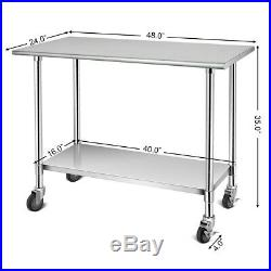 Portable Commercial Kitchen Prep Work Table Double-Layers Stainless Steel