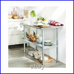ROCKPOINT NSF Stainless Steel Commercial Kitchen Work Table with Backsplash