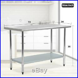 Restaurant Commercial Kitchen Prep Work Table Stainless Steel 24 x 72