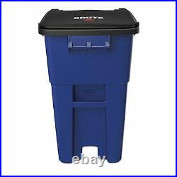 Rubbermaid Commercial Brute Rollout Container, Square, Plastic, 50 gal, Blue