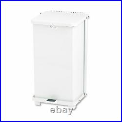 Rubbermaid Commercial Defenders Biohazard Step Can Square Steel 12gal White