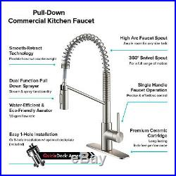 Single Handle Pull Down Commercial Kitchen Faucet Spot Free Stainless Steel Tap