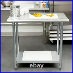Stainless Steel 24 x 36 NSF Commercial Kitchen Prep Work Table Adjustable shelf