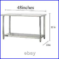 Stainless Steel 24 x 48 Kitchen Work Prep Table Food Commercial Shelving US