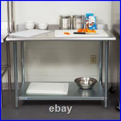 Stainless Steel 30 x 48 NSF Commercial Kitchen Work Prep Table with Backsplash