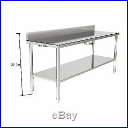 Stainless Steel 35 x 72 Commercial Food Kitchen Work Prep Table with Backsplash