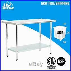 Stainless Steel 72L x 24''D x 34''H NSF Commercial Kitchen Work Food Prep Table