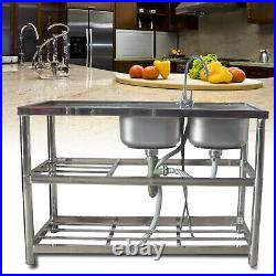 Stainless Steel Commercial Home Sink Bowl Kitchen Catering Prep Table 2 Bowls