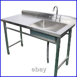 Stainless Steel Commercial Kitchen Catering Wash Sink Prep-Table Stand 1 Bowl US
