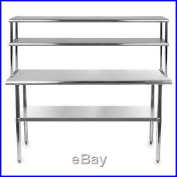 Stainless Steel Commercial Kitchen Prep Table with Double Overshelf- 30 x 60