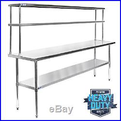 Stainless Steel Commercial Kitchen Prep Table with Double Overshelf- 30 x 72